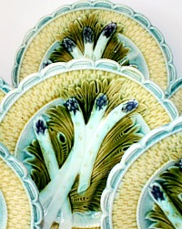 19th Century French Keller and Guerin Luneville Majolica Asparagus Plates Set of 6
