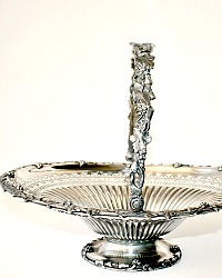 Antique Large Silver Plate Bride's Basket Ivy & Grape Pattern Rogers Bros.