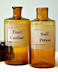19th Century French Apothecary Amber Pharmacy Bottles Pair