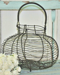 Antique French Wire Egg GatheringBasket
