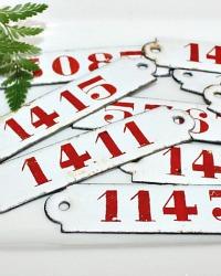 Vintage Red & White Enameled Number