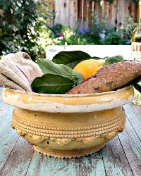 19th Century French Terracotta Yellow Bowl Jardiniere