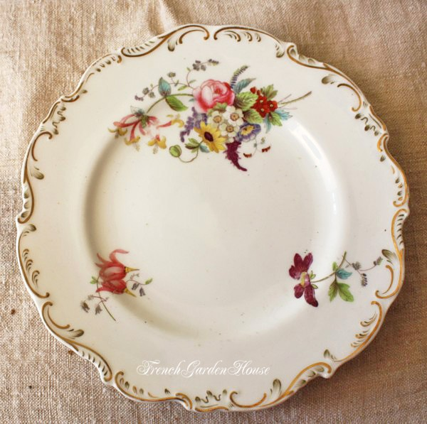 Antique Floral: Antique Old Paris Porcelain Hand Painted Floral Plates Set 5