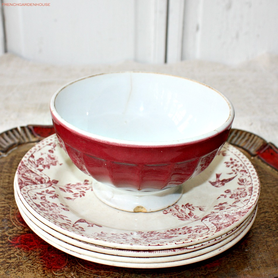 antique french cafe au lait bowl rouge. Black Bedroom Furniture Sets. Home Design Ideas