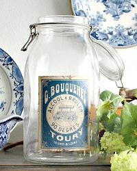 French Apothecary Glass Storage Jar Bouquerel