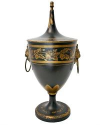 French Tole Peinte Gilt Chestnut Urn