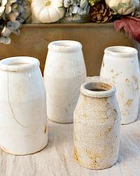 Antique Cream Patina Faience Ink Pots