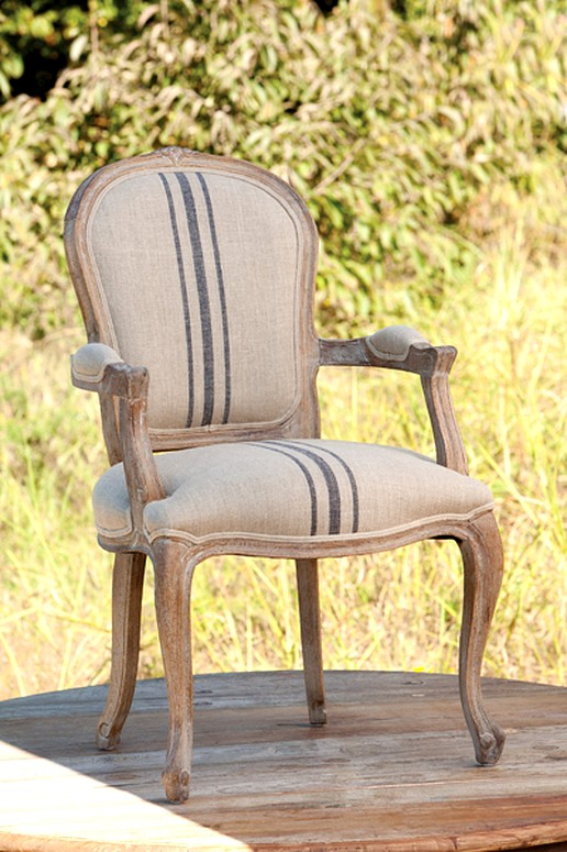 Pair of Country French Striped Linen Upholstered Armchairs