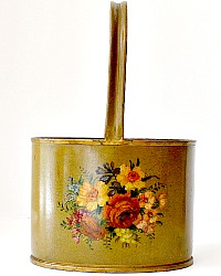 Antique French Hand Painted Tole Caddy