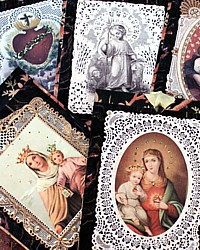 French Holy Card Glittered Gift Tags� Set of 6-tag, silver, madonna, jesus, religious,lace,paper,marbled,napking, rings, favors,tea, goods, baked, party,bookmark, toile, du, jouy,holidays, year, round, christmas,mary,virgin,infant, immaculate, heart