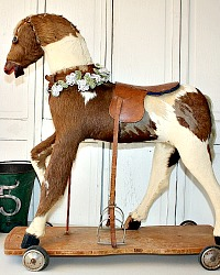 Rare French Antique Toy Horse with Hide & Leather Saddle 1880