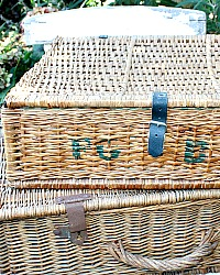 Vintage French Picnic Storage Basket with Lid F G B