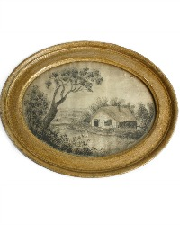 Antique Silk Embroidery Landscape in Oval Frame
