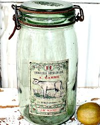 Vintage French Green Glass Storage Jar Hamme