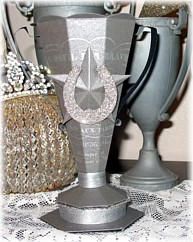 Trophy Candy Container Denise Sharp Glitter Horseshoe-Paper, Loving Cup , vintage, Gift ,Birthday, Celebration,german, glass