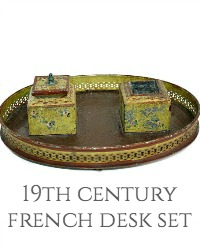 19th Century French Hand Painted Toleware Desk Ink Pot Set