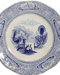 Antique J. Wedgwood Columbia Blue Transferware Plate-stafforsshire,19th century,historic, romantic,burslem,river,