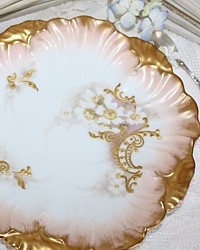 Antique Hand Painted Pink & Gilt Floral Limoges Porcelain Cabinet Plate-Laviolette, L S & S, lavender, white, pink, enameled, enamel,hand, painted,gold, scrollwork, scrolls,pastilliage,art, sterling, luxurious,high,nouveau,heirloom,quality