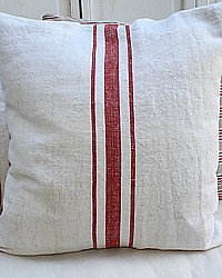 Antique French Grainsack Linen Pillow Red Ticking