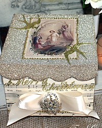 Holiday Artist Glass Glitter Religious Gift Display Box-german,holy, cards,Christ,Virgin, Mary, Angels, dresden, gold, Christmas, French, satin, Cream, antique, Sheet,music,bird,flower, star,one of a kind,
