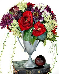 Provence French Autumn Floral Arrangement in Vintage Urn