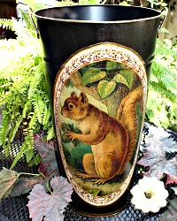 Limited Edition French Metal Flower Bucket Squirrel Extra Large Noir