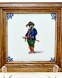 Royal Tichelaar Makkum Polychrome Hand Painted Tile 18th Century Swordsman