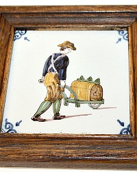 Royal Tichelaar Makkum Polychrome Hand Painted Tile 18th Century Trades Man