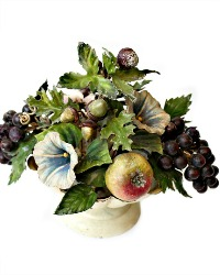 Antique Tole Floral & Fruit Centerpiece