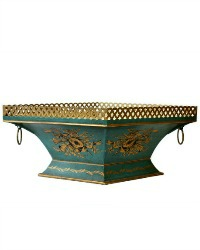 French Toleware Footed Aqua Cachepot Jardiniere