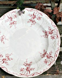 Antique French Red Floral Transferware Platter