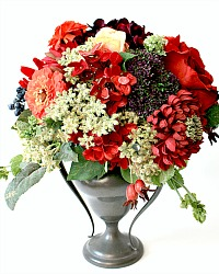 Mixed French Autumn Arrangement in Antique Silver Urn