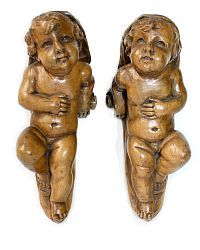 19th Century Carved Wood Sculptural Putto or Cherub Pair Corbels