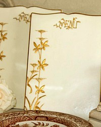 Antique French Biscuit Porcelain Menu Holder Board Gilt-cream, gold, gilt, floral, card, dinner, hand, applied, painted, lettering, foliate,
