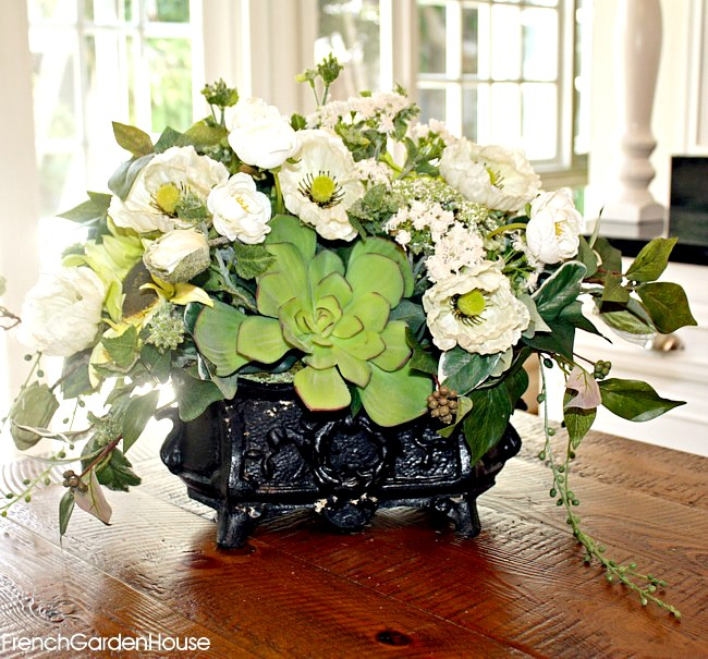 Elegant white rose blue hydrangea and pink garden floral arrangement in vintage urn - French country table centerpieces ...