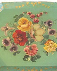 Antique Pale Green Victorian Rose Floral Tole Tray-pink, coral,white,lilly,lillies,lavender, purple,morning glory, bellflower,hydrangea,violet, pink, gilt,