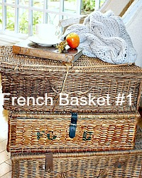 Antique French Brocante Market Basket Storage