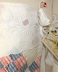 Antique Quilt Stocking Victorian Whitework Embroidered Linen Cuff-vintage, shabby chic,rhinestone, buckle,postcard, christmas,holiday,luxury, designer