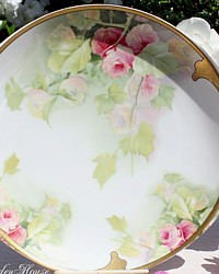 Antique Rosenthal Hand Painted Donatello Pink Roses Gilt Handled Serving Platter-German, Porcelain, gilt, Floral, green, white, gold,transfer, sterling, investment, collection, collectible, cerise, quality,romantic, plate,cut out,handles,