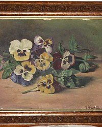 Antique Victorian Sunday Pansies Floral Oil Painting-19th century, 1800's,purple, floral,lavender,shabby, chic,victoriana,gilt, liner,wood,signed,Haynes,garden