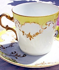 Antique French Porcelain Demitasse Gilt Yellow-gold, scroll,translucent, raised, dots, floral, garland, rim, collection, 1800,