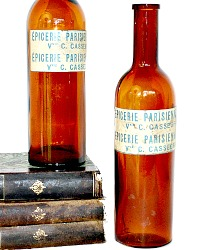 French Amber Brown Glass Bottles Epicerie Parisienne Set of 2