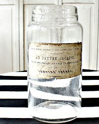 Antique French Glass Storage Jar Au Pauvre Jacques