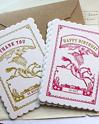 Circus Girl Letterpress Ephemera Card Set-antique,envelope,paper,pink, yellow, gift, horse,favor, love note,cards,birthday,thank you