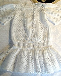 Antique French Victorian White Broderie Anglaise Doll Dress-Jumeau, Bru, Porcelain, Victorian, Doll,