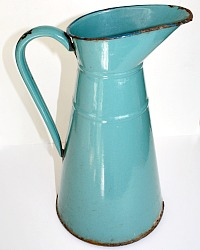 Antique French Enamelware Body Pitcher Aqua Blue Green