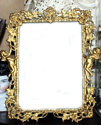 Antique French Ormolu Filigree Cherub Picture Frame-gold,angels,flowers,floral,patina,