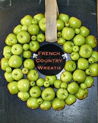 Large French Country Green Apple Wreath with Linen Ribbon