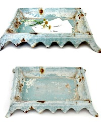 Antique French Enamelware Aqua Crachoir Tray