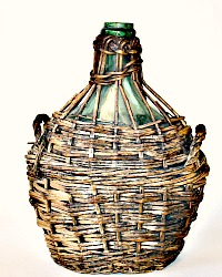 Antique French Bonbonne Wicker Encased Bottle Demi John